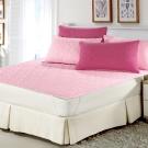 精靈工廠 雙色幸運草系列防潑水加大一件式舖棉平單保潔墊-粉紅