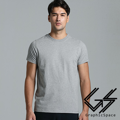 灰色素面磨毛水洗T恤(灰色)-GraphicSpace