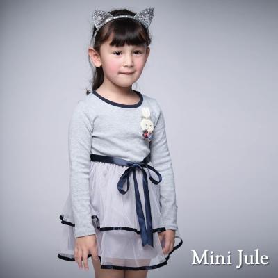 Mini Jule 童裝-洋裝 兔子緞帶網紗長袖洋裝(灰)