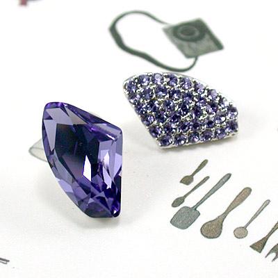 伊飾晶漾iSCrystal 冷紫隕石不對稱耳環