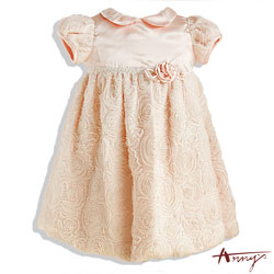 緞面公主袖拼接蕾絲蝴蝶結洋裝*4203粉