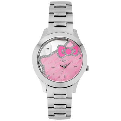 Hello Kitty 凱蒂貓 焦點美人鏤空腕錶-粉紅x銀/38mm