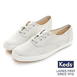 Keds CHAMPION金屬炫色經典綁帶休閒鞋-金屬灰