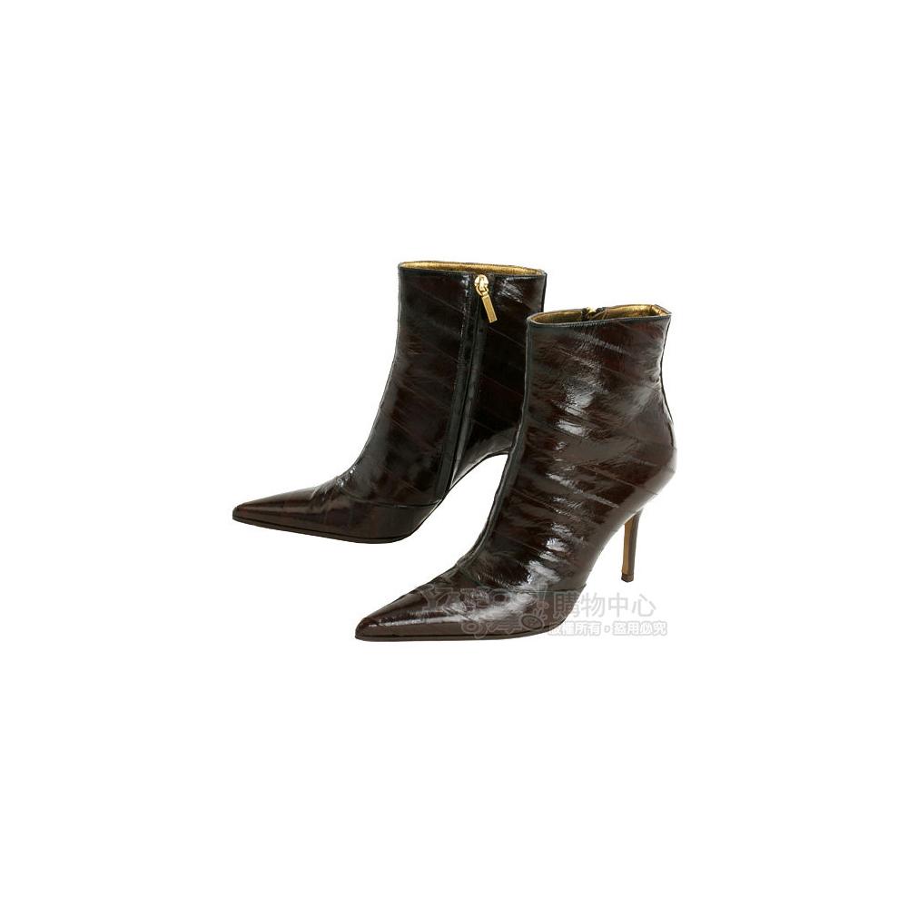 DOLCE & GABBANA 酒紅色橫皮紋設計尖頭踝靴(展示品)