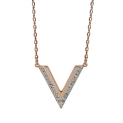 SWAROVSKI 施華洛世奇 V型墜飾水晶玫瑰金色項鍊