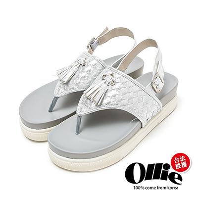 Ollie韓國空運-正韓製編織流蘇人字厚底夾腳涼鞋-銀