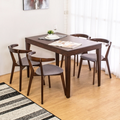 Boden-薩莫特4尺實木餐桌椅組(一桌四椅)120x75x77cm