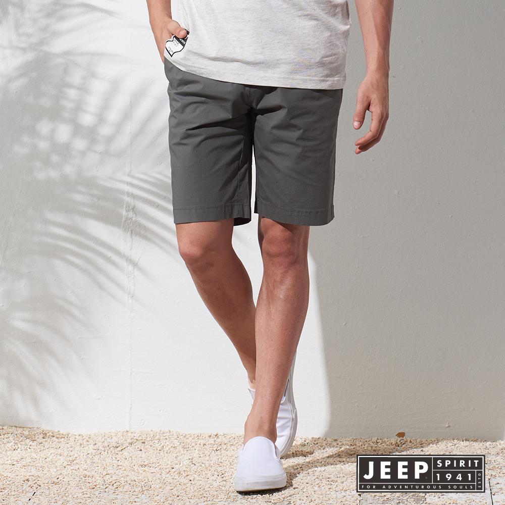JEEP 簡約素面戶外休閒彈性短褲 灰色 (合身版)