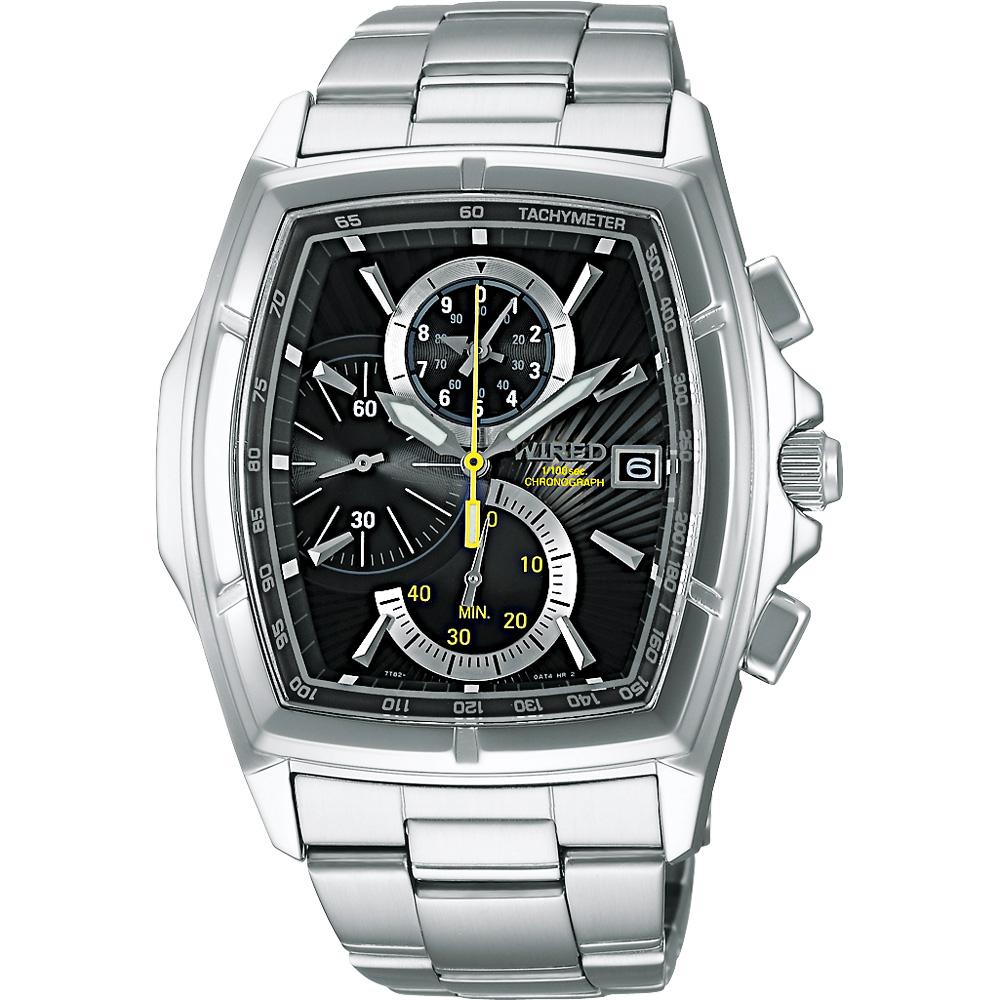 WIRED 世紀之戰三眼計時腕錶(AQ8013X1)-黑/36mm