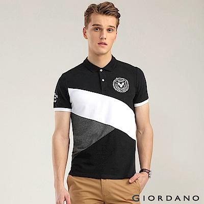 GIORDANO 男裝經典撞色刺繡彈力棉POLO衫-10 標誌黑