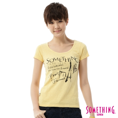 SOMETHING-T恤-巴黎速寫悠閒T恤-女-淺