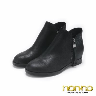 nonno簡約時尚真皮拉鍊造型短靴-黑