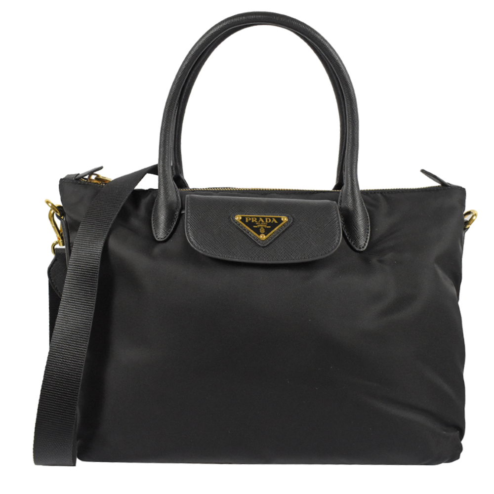 PRADA三角LOGO經典尼龍樣式兩用手提包(黑)