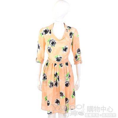 MOSCHINO 粉橘色花朵圖印設計七分袖洋裝
