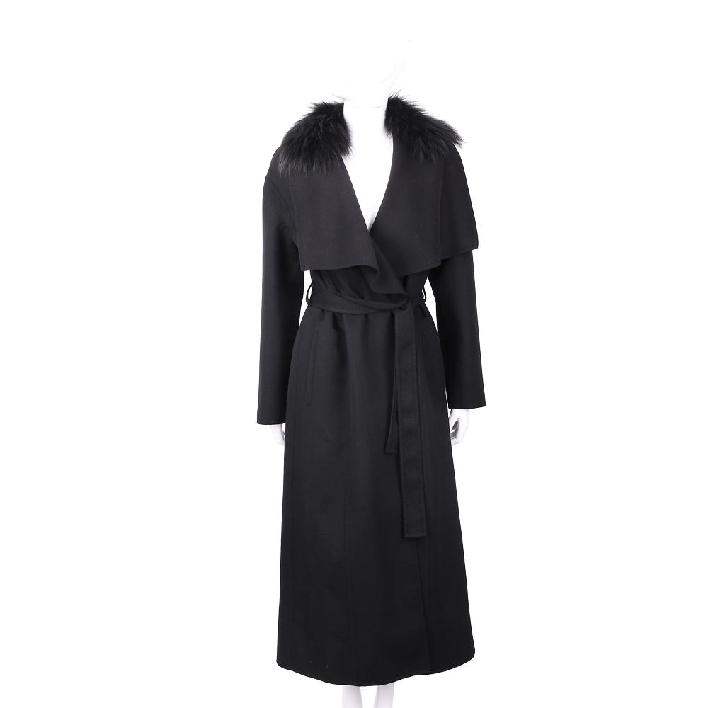 Manzoni 24 喀什米爾皮草領黑色綁帶手工羊絨大衣