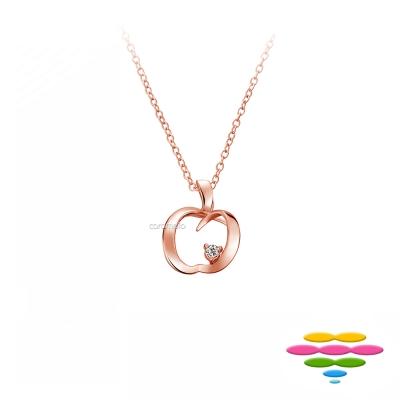 彩糖鑽工坊 愛心蘋果 玫瑰金鑽石項鍊 情有獨鍾系列