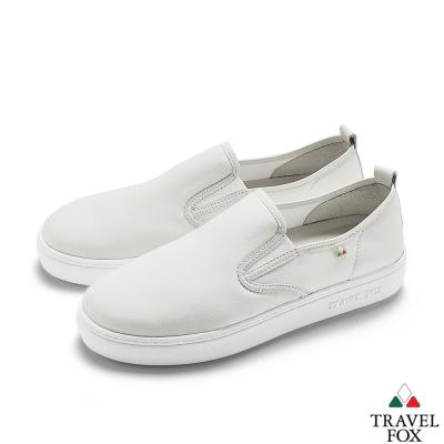 TRAVEL FOX(女)網布舒適休閒懶人鞋-白