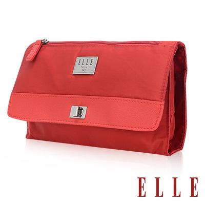 ELLE 法式優雅淑女 旅行掛勾收納 化妝 盥洗包-鮮紅色