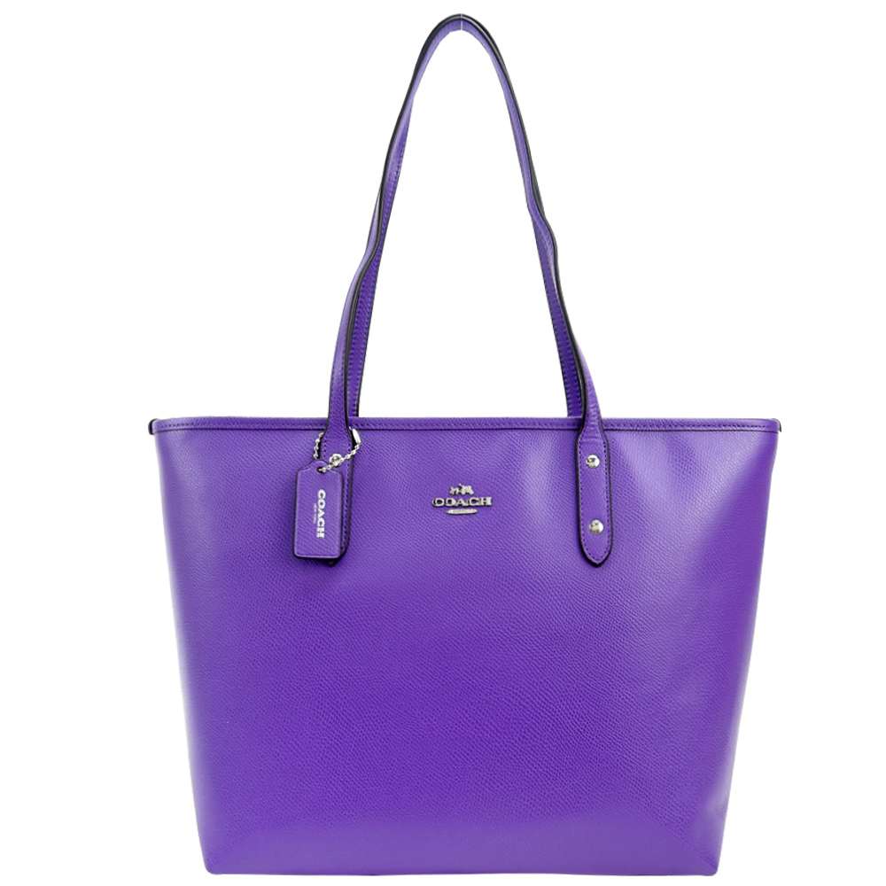 COACH 馬車 LOGO 素面PVC托特包(紫)COACH