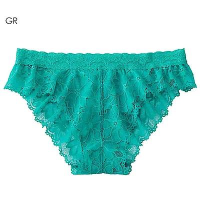 aimerfeel 性感全蕾絲緞帶半臀內褲-綠色