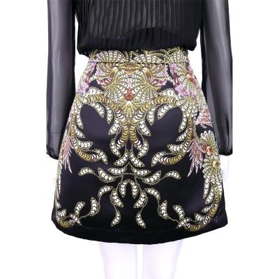 CLASS roberto cavalli 黑色印花圖騰緞面短裙