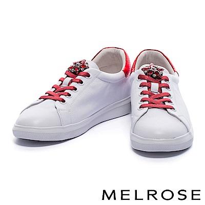 休閒鞋 MELROSE 奢華手縫鑽花蛇紋拼接牛皮綁帶厚底休閒鞋-紅
