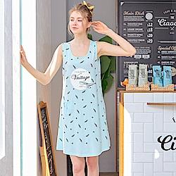 睡衣 水藍鯊魚無袖連身睡衣(R75028-5水藍鯊魚)台灣製造 蕾妮塔塔