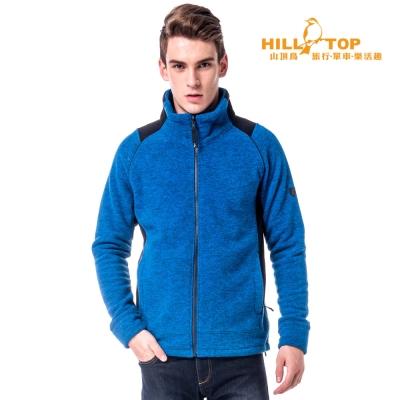 【hilltop山頂鳥】男款吸濕刷毛外套H22MV7深灰藍麻花/黑