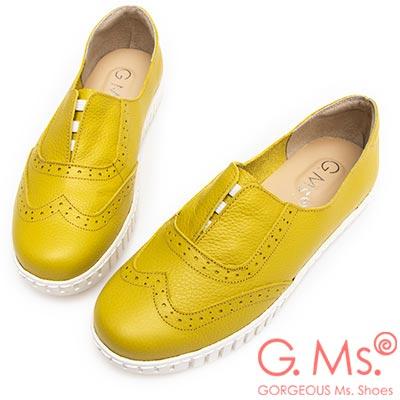 G.Ms. MIT系列-馬卡龍色系牛津免綁帶牛皮白底休閒鞋-萊姆黃