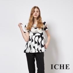 ICHE 衣哲 時尚黑白波點印花拼接造型上衣