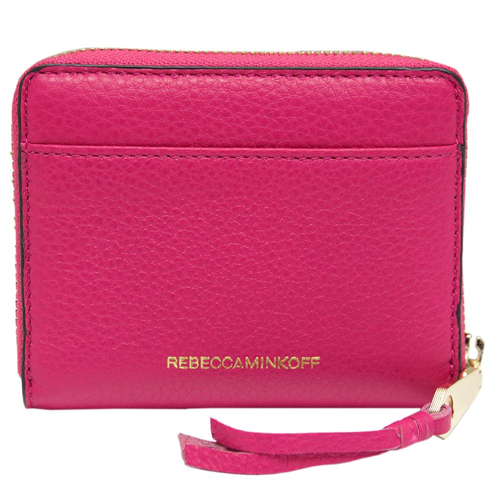 REBECCA MINKOFF MINI AVA 鉚釘牛皮拉鍊卡夾零錢包-紫紅色