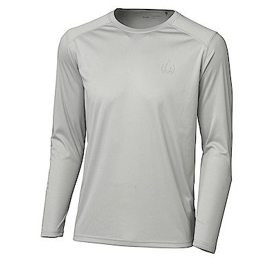 【HAKERS】男 長袖抗UV快乾圓領衫-灰色