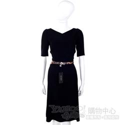 DOLCE & GABBANA 黑色V領短袖洋裝(不含腰帶)