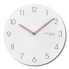 12吋簡約時尚現代居家 輕薄設計數字刻度餐廳客廳臥室靜 掛鐘 - 白色