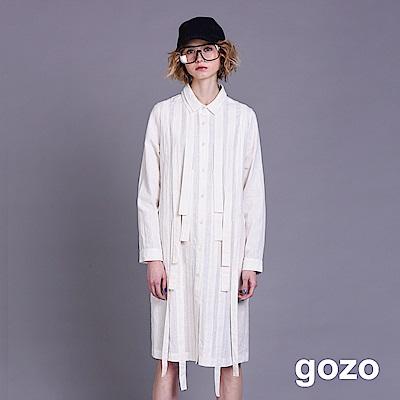 gozo 條帶裝飾襯衫領開扣長袖洋裝(二色)