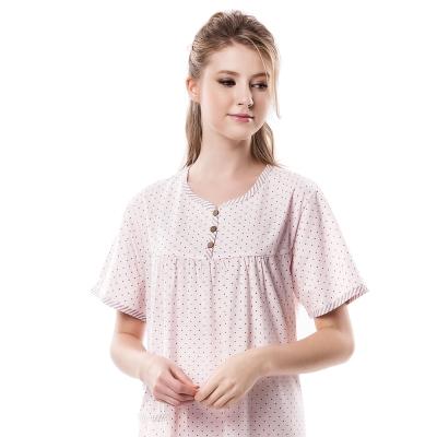 羅絲美睡衣 - 鑽石星星短袖洋裝睡衣 (浪漫粉)