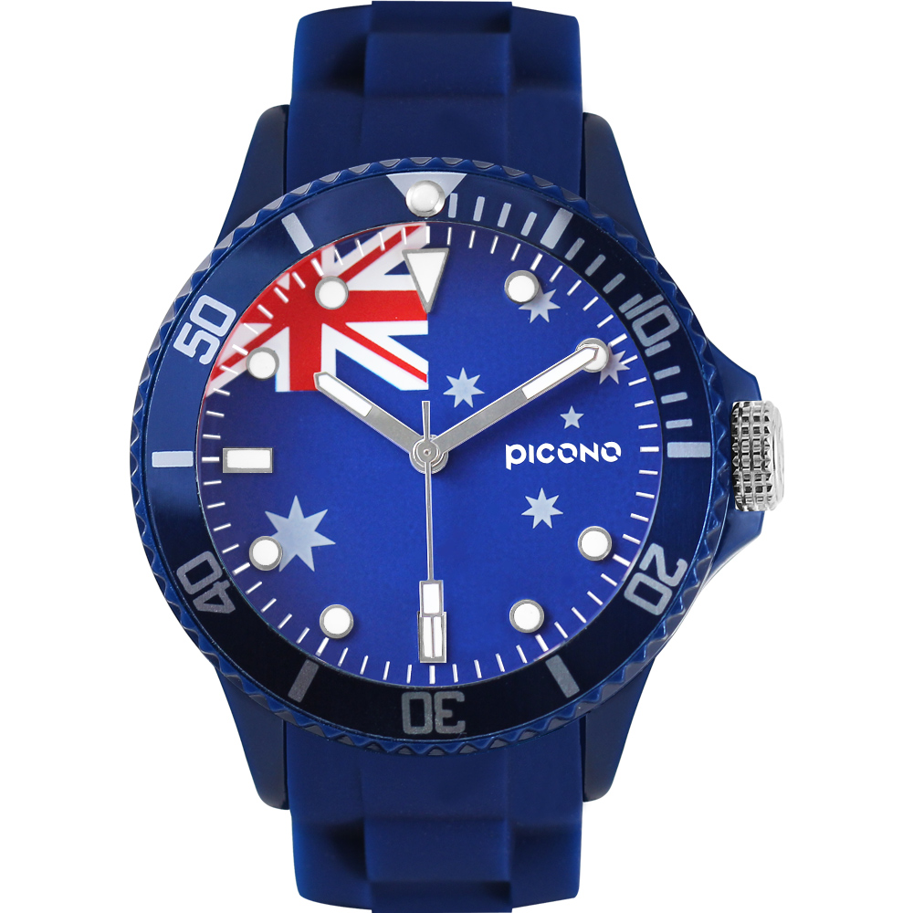 PICONO 國旗系列腕錶-澳洲x藍/48mm
