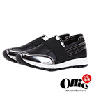 Ollie韓國空運-正韓製。個性漆皮彈性繃帶增高懶人鞋-黑