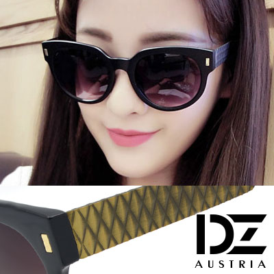 DZ 長釘菱格刷舊感鏡腳 抗UV 太陽眼鏡墨鏡(亮黑系)