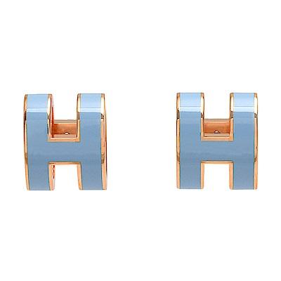 HERMES 經典POP立體H LOGO簍空橢圓穿式耳環(粉藍X玫瑰金)