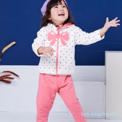 les enphants baby 優雅小領圓點紋連帽二件式套裝