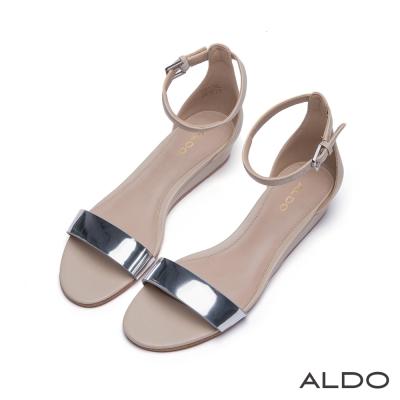 ALDO-原色一字金屬釦帶繫踝小坡跟涼鞋-名媛裸色