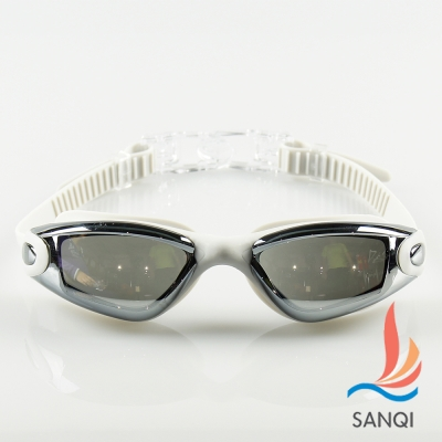 SANQI三奇 夏日必備抗UV防霧休閒泳鏡(9018-灰F)
