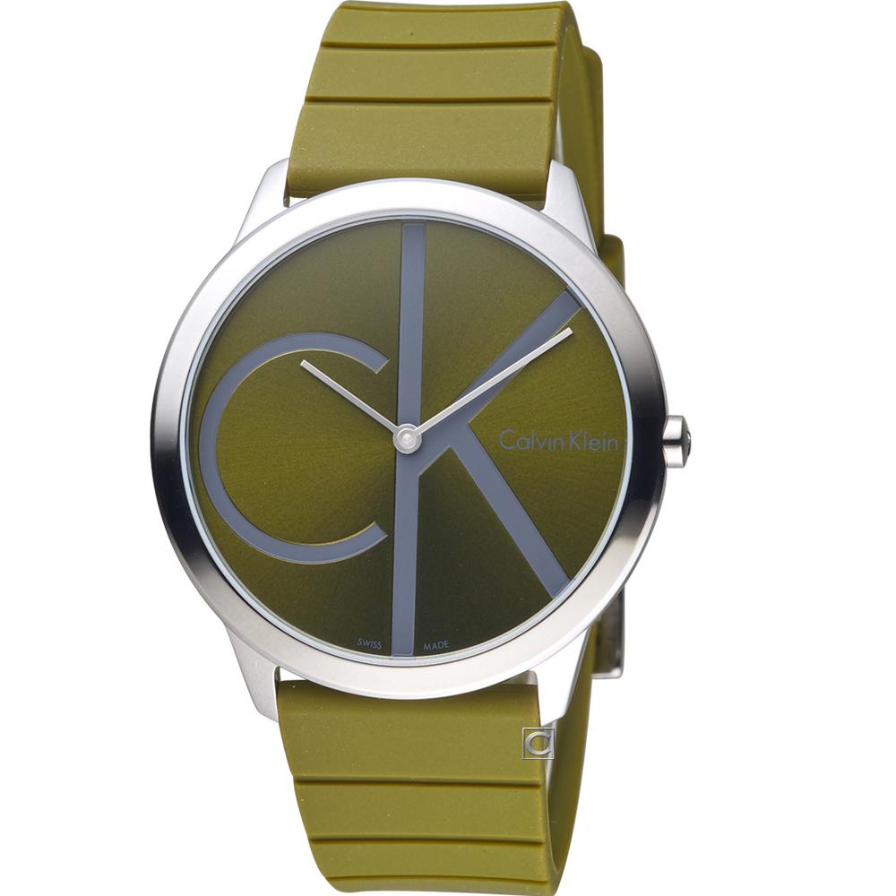 Calvin Klein minimal大ck經典元素時尚腕錶-綠40mm