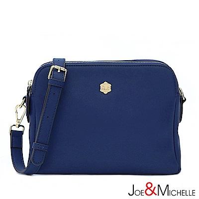 J&M 真皮約瑟芬雙隔層斜背包 亮靛藍