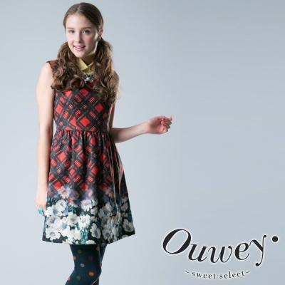 OUWEY歐薇-斜紋格印花背心洋裝