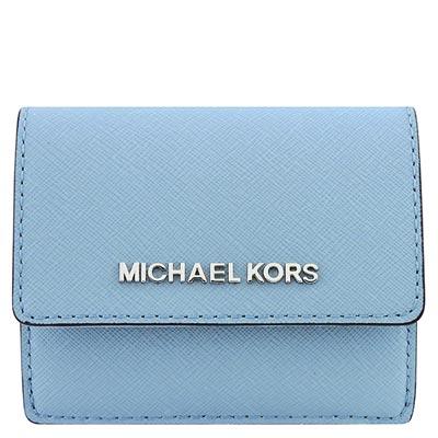 MICHAEL KORS JET SET防刮牛皮零錢/短夾(粉藍色)