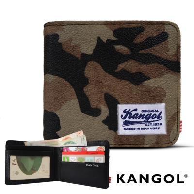 KANGOL 韓式潮流 多夾層橫式短皮夾+鑰匙圈禮盒-迷彩咖