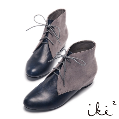 iki2 四季百搭異材質拼接內增高短靴-深藍