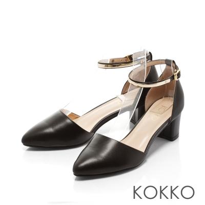 KOKKO-真皮法式優雅金屬繫踝粗跟鞋 - 牛皮黑